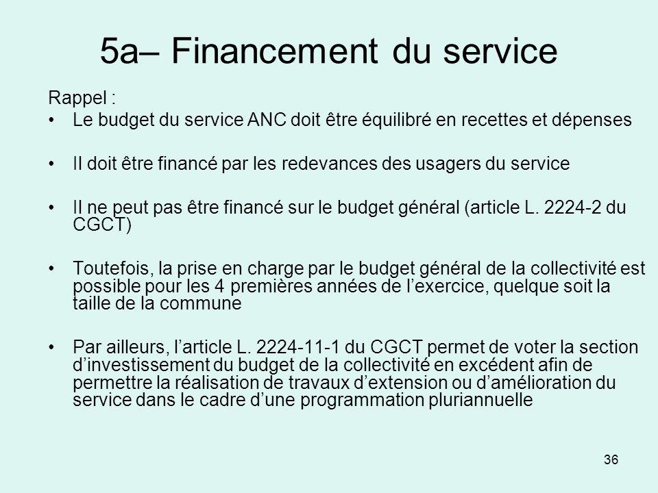 36 5a– Financement du service Rappel : Le budget du service ANC doit être équilibré en recettes et dépenses Il doit être financé par les redevances de