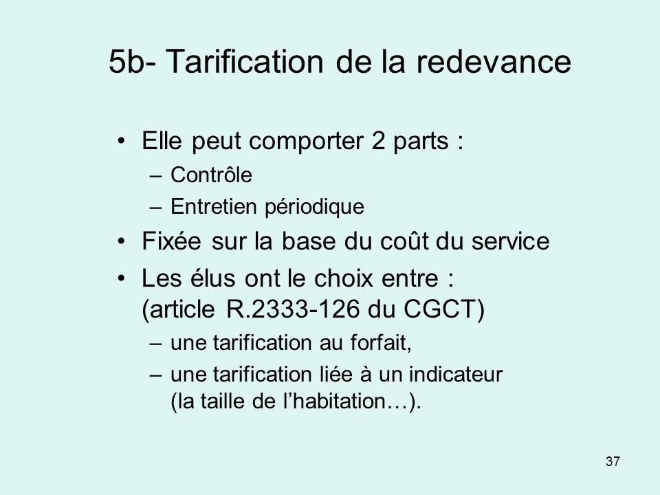 37 5b- Tarification de la redevance Elle peut comporter 2 parts : –Contrôle –Entretien périodique Fixée sur la base du coût du service Les élus ont le
