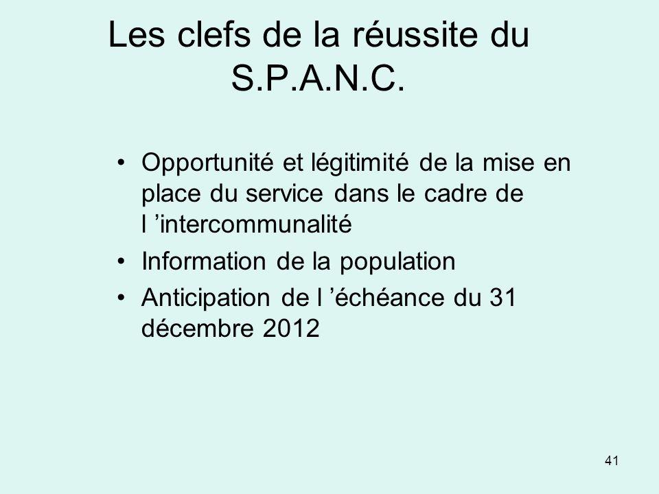 41 Les clefs de la réussite du S.P.A.N.C. Opportunité et légitimité de la mise en place du service dans le cadre de l intercommunalité Information de