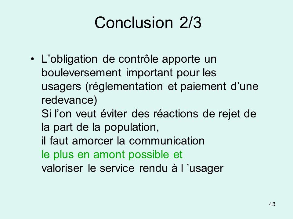 43 Conclusion 2/3 Lobligation de contrôle apporte un bouleversement important pour les usagers (réglementation et paiement dune redevance) Si lon veut