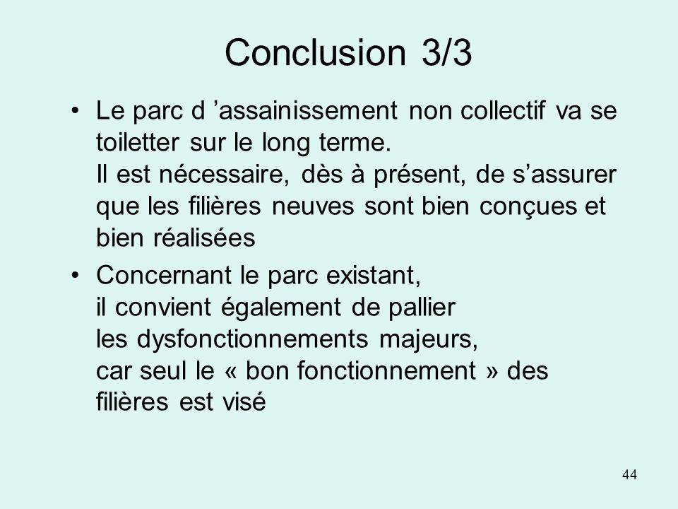 44 Conclusion 3/3 Le parc d assainissement non collectif va se toiletter sur le long terme. Il est nécessaire, dès à présent, de sassurer que les fili