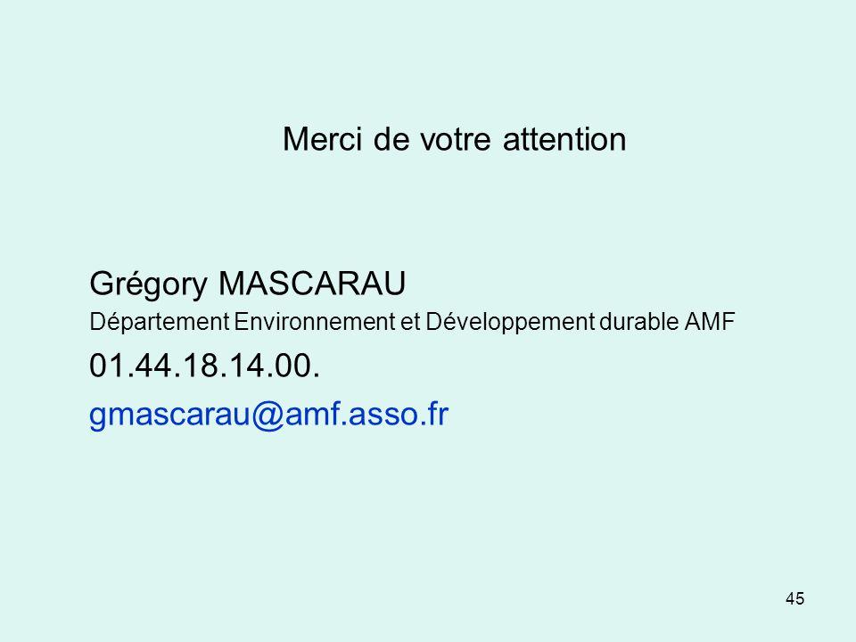 45 Merci de votre attention Grégory MASCARAU Département Environnement et Développement durable AMF 01.44.18.14.00. gmascarau@amf.asso.fr