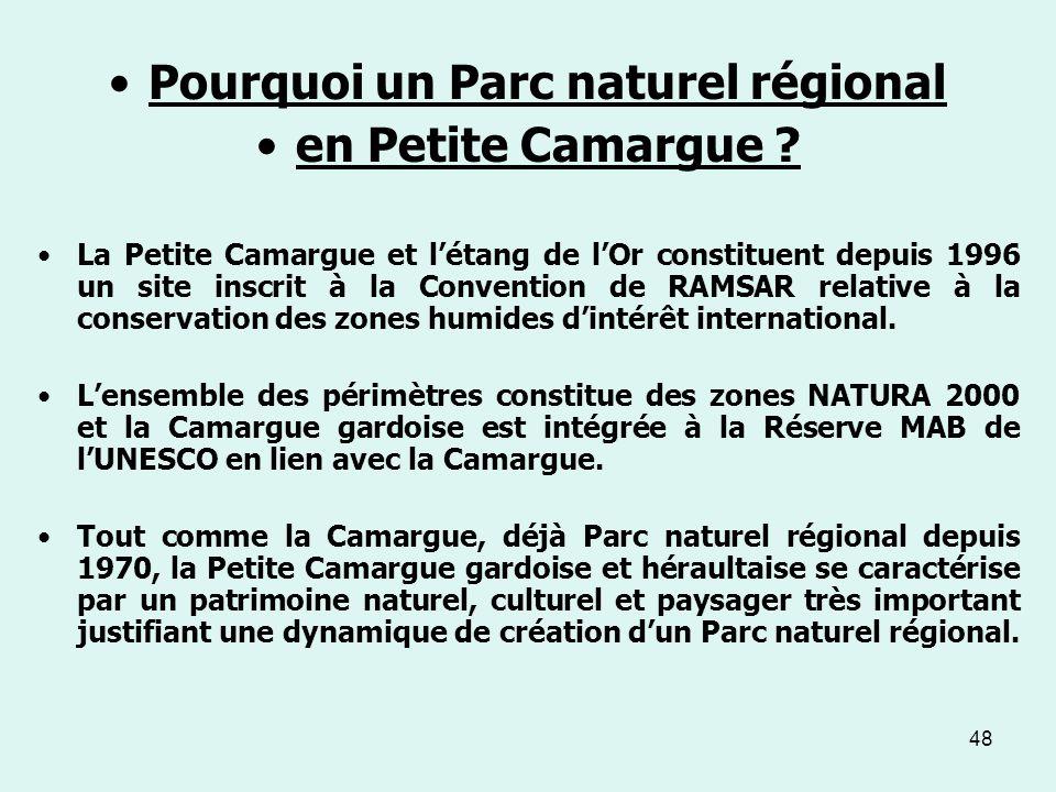 48 Pourquoi un Parc naturel régional en Petite Camargue ? La Petite Camargue et létang de lOr constituent depuis 1996 un site inscrit à la Convention