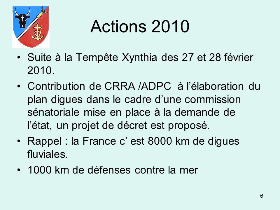 6 Actions 2010 Suite à la Tempête Xynthia des 27 et 28 février 2010. Contribution de CRRA /ADPC à lélaboration du plan digues dans le cadre dune commi