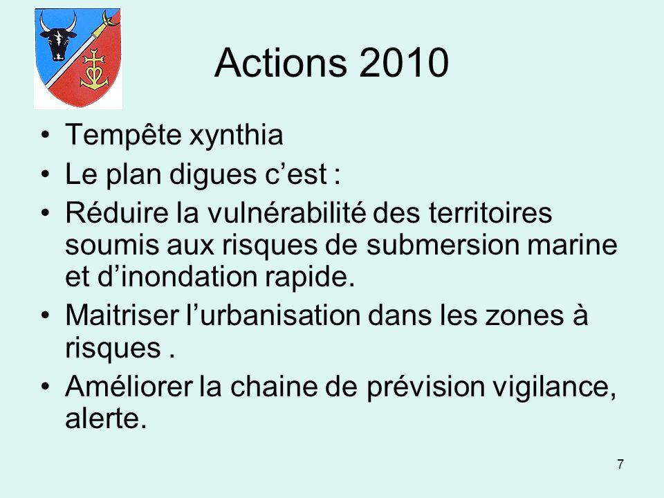 7 Actions 2010 Tempête xynthia Le plan digues cest : Réduire la vulnérabilité des territoires soumis aux risques de submersion marine et dinondation r