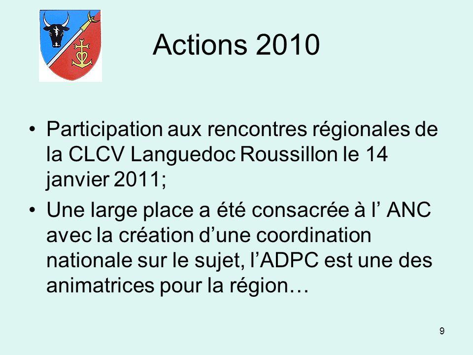 9 Actions 2010 Participation aux rencontres régionales de la CLCV Languedoc Roussillon le 14 janvier 2011; Une large place a été consacrée à l ANC ave