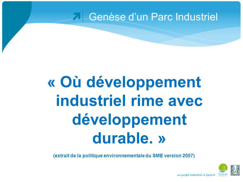 Genèse dun Parc Industriel A loccasion des rencontres avec les entreprises, un questionnaire est rempli portant en autre sur les bilans de matières entrantes et sortantes, dont lénergie.