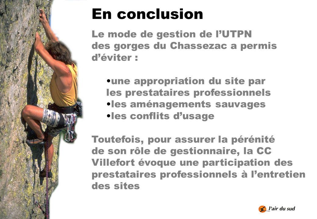 En conclusion Le mode de gestion de lUTPN des gorges du Chassezac a permis déviter : une appropriation du site par les prestataires professionnels les