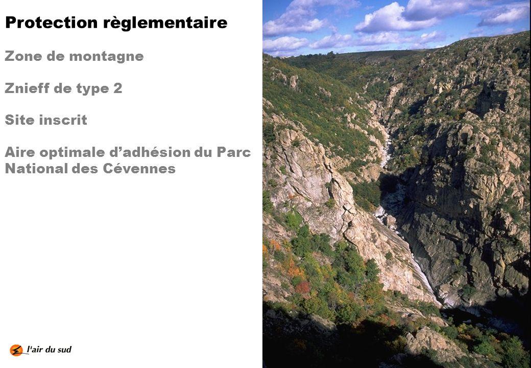 Protection règlementaire Zone de montagne Znieff de type 2 Site inscrit Aire optimale dadhésion du Parc National des Cévennes