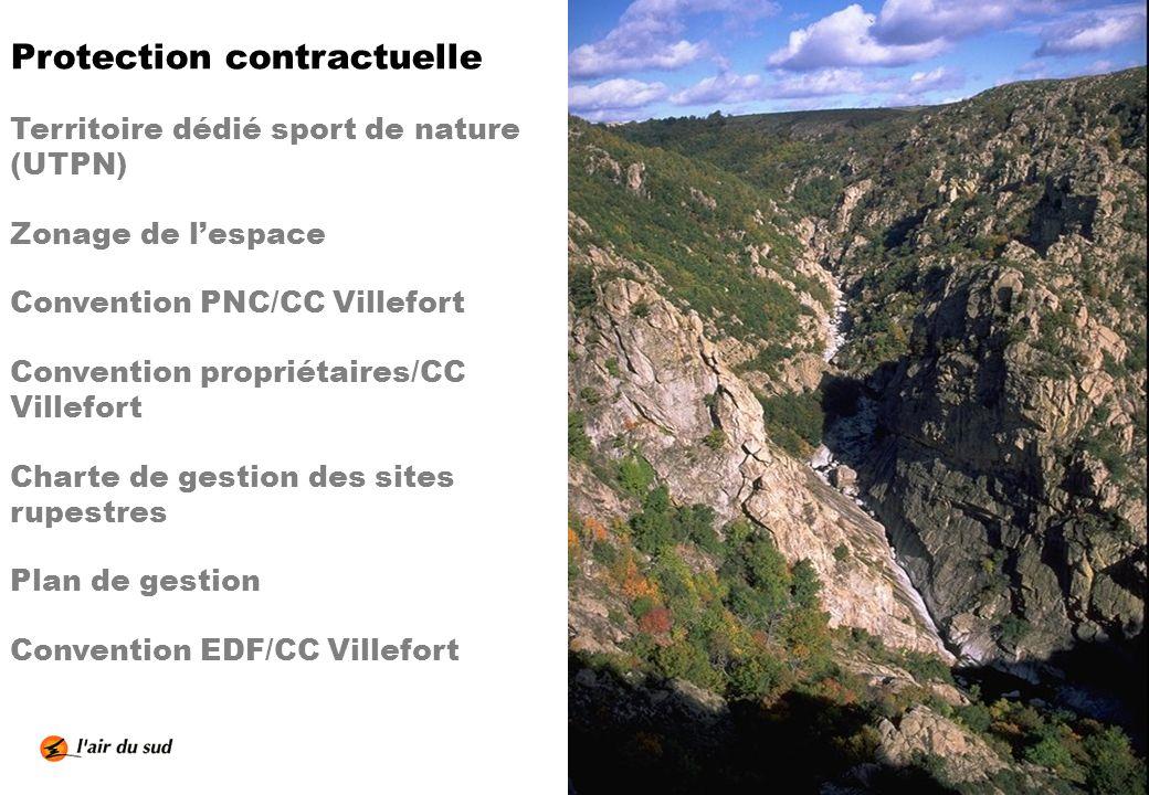 Protection contractuelle Territoire dédié sport de nature (UTPN) Zonage de lespace Convention PNC/CC Villefort Convention propriétaires/CC Villefort C