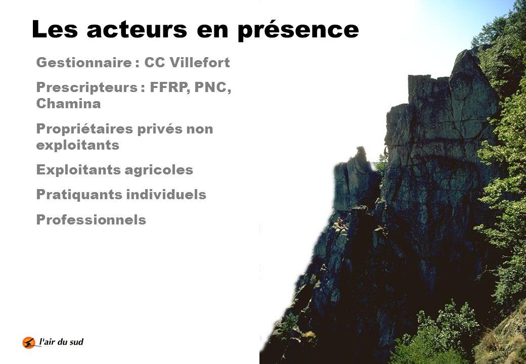 Les acteurs en présence Gestionnaire : CC Villefort Prescripteurs : FFRP, PNC, Chamina Propriétaires privés non exploitants Exploitants agricoles Prat