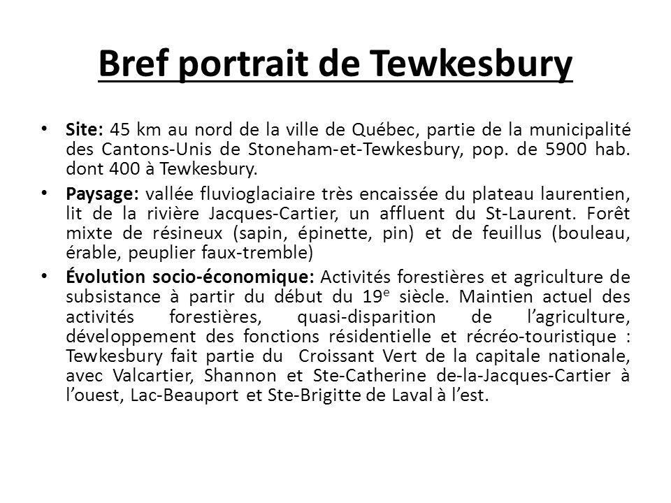 Bref portrait de Tewkesbury Site: 45 km au nord de la ville de Québec, partie de la municipalité des Cantons-Unis de Stoneham-et-Tewkesbury, pop. de 5