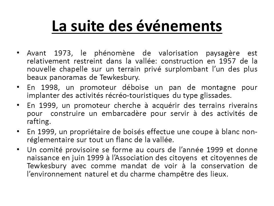 Les acteurs, ou la demande sociale La Bataille de la Jacques-Cartier a été conduite essentiellement par de nouveaux résidents venus sinstaller à Tewkesbury en raison de la beauté des lieux et de sa proximité avec Québec.