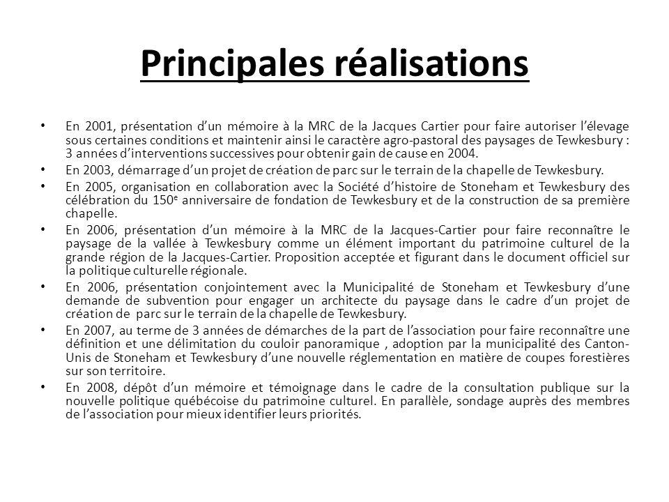 Principales réalisations En 2001, présentation dun mémoire à la MRC de la Jacques Cartier pour faire autoriser lélevage sous certaines conditions et m