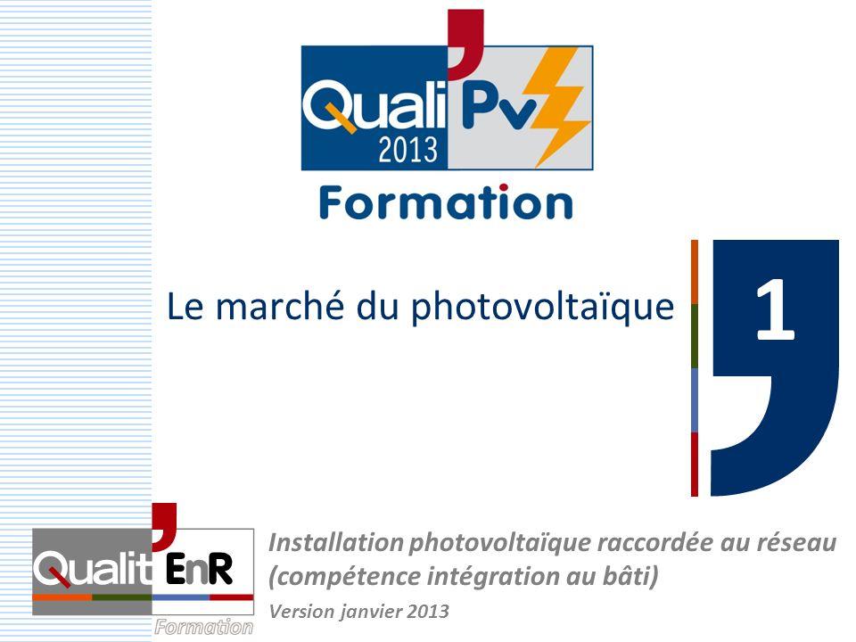 Le marché du photovoltaïque 1 1 Installation photovoltaïque raccordée au réseau (compétence intégration au bâti) Version janvier 2013