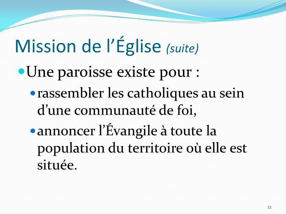 Mission de lÉglise (suite) Une paroisse existe pour : rassembler les catholiques au sein dune communauté de foi, annoncer lÉvangile à toute la populat