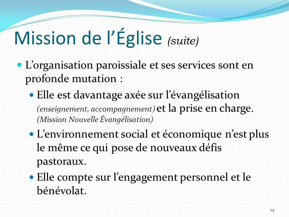 Mission de lÉglise (suite) Lorganisation paroissiale et ses services sont en profonde mutation : Elle est davantage axée sur lévangélisation (enseigne
