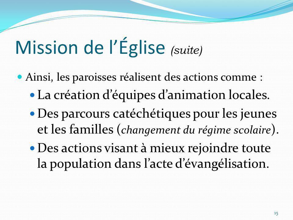 Mission de lÉglise (suite) Ainsi, les paroisses réalisent des actions comme : La création déquipes danimation locales. Des parcours catéchétiques pour