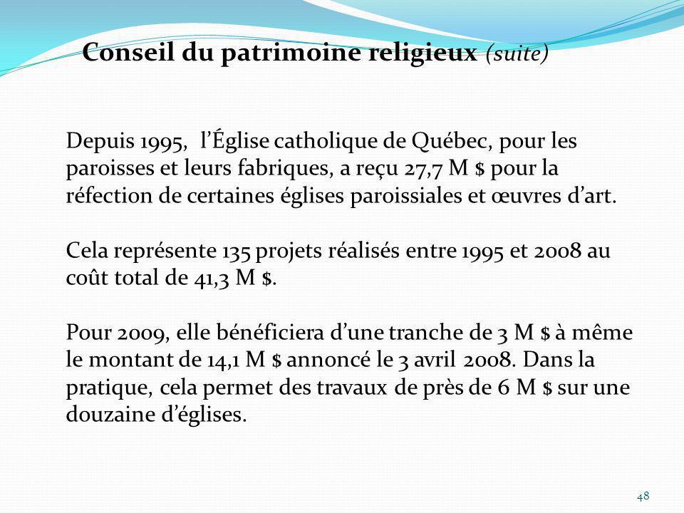 48 Depuis 1995, lÉglise catholique de Québec, pour les paroisses et leurs fabriques, a reçu 27,7 M $ pour la réfection de certaines églises paroissial