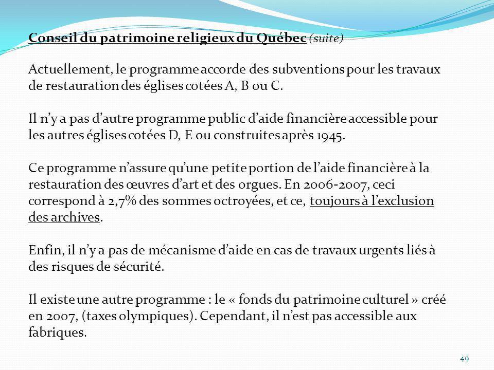 49 Conseil du patrimoine religieux du Québec (suite) Actuellement, le programme accorde des subventions pour les travaux de restauration des églises c