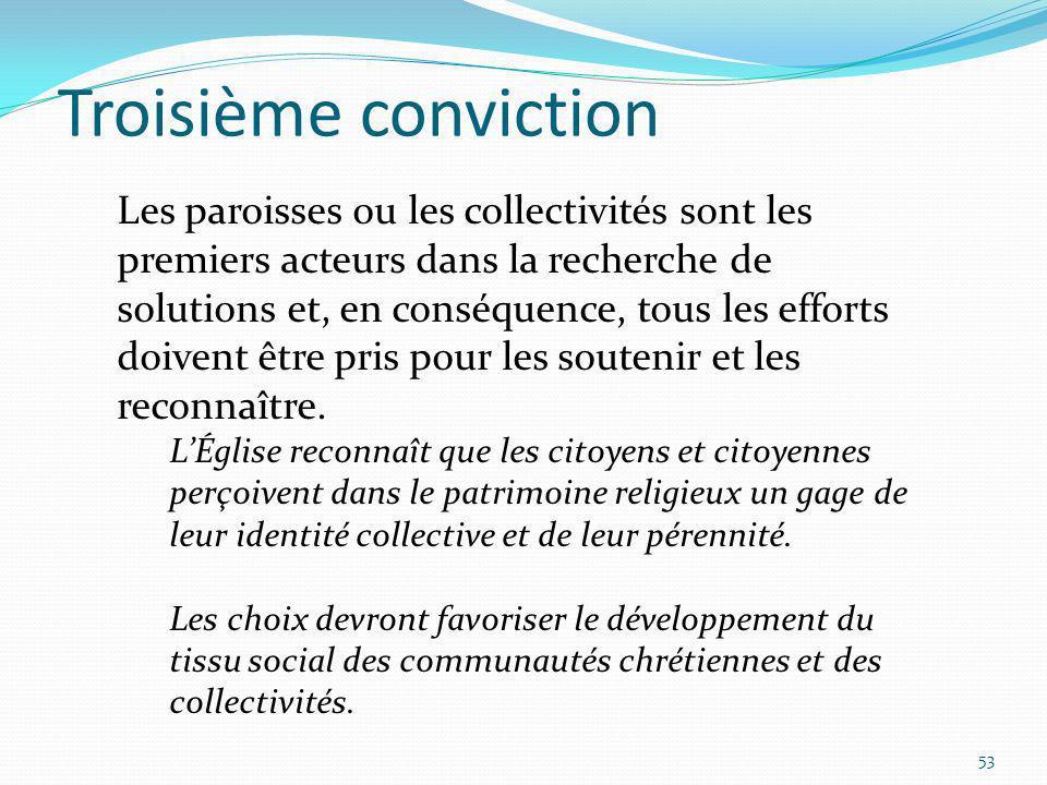 Troisième conviction 53 Les paroisses ou les collectivités sont les premiers acteurs dans la recherche de solutions et, en conséquence, tous les effor