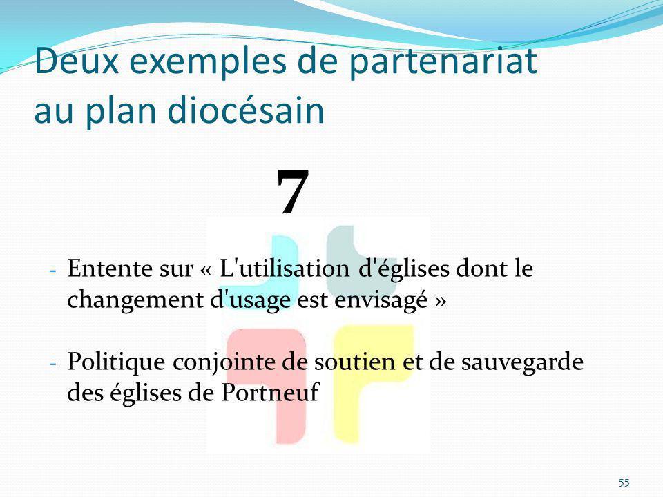 Deux exemples de partenariat au plan diocésain - Entente sur « L'utilisation d'églises dont le changement d'usage est envisagé » - Politique conjointe