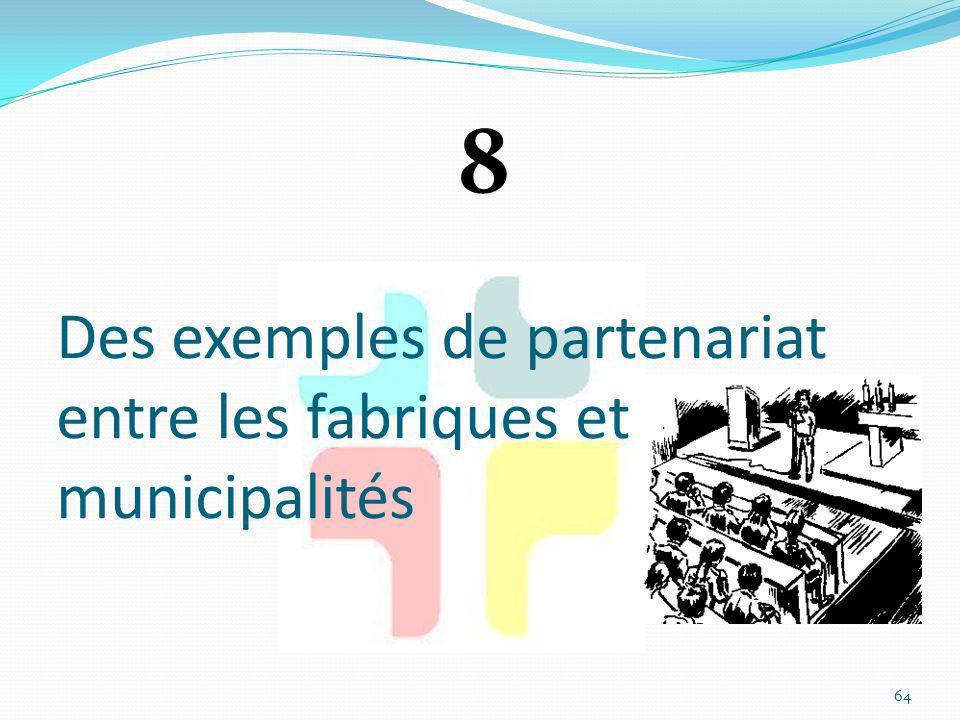 Des exemples de partenariat entre les fabriques et municipalités 64 8