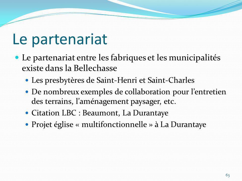 Le partenariat Le partenariat entre les fabriques et les municipalités existe dans la Bellechasse Les presbytères de Saint-Henri et Saint-Charles De n