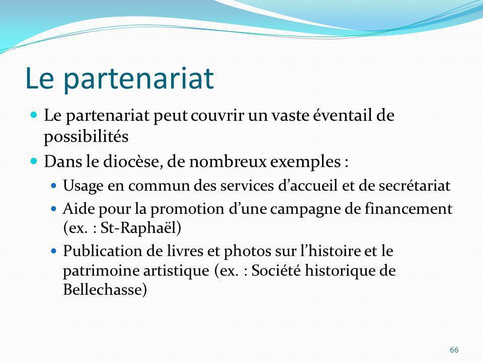 Le partenariat Le partenariat peut couvrir un vaste éventail de possibilités Dans le diocèse, de nombreux exemples : Usage en commun des services dacc