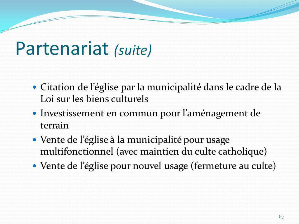 Partenariat (suite) Citation de léglise par la municipalité dans le cadre de la Loi sur les biens culturels Investissement en commun pour laménagement