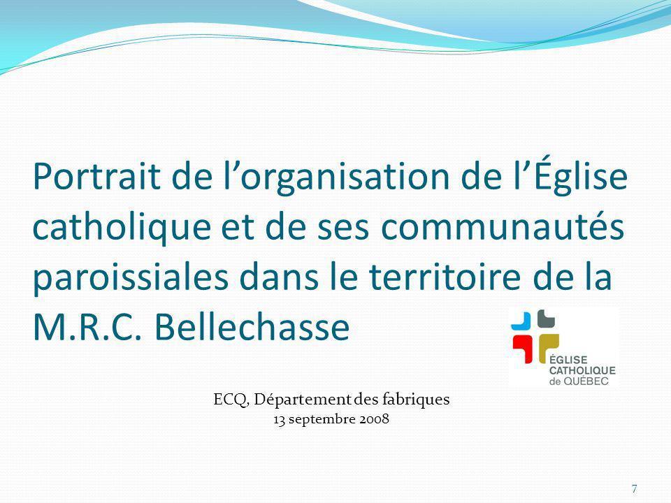 Portrait de lorganisation de lÉglise catholique et de ses communautés paroissiales dans le territoire de la M.R.C. Bellechasse 7 ECQ, Département des