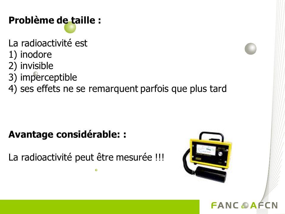 Problème de taille : La radioactivité est 1) inodore 2) invisible 3) imperceptible 4) ses effets ne se remarquent parfois que plus tard Avantage consi