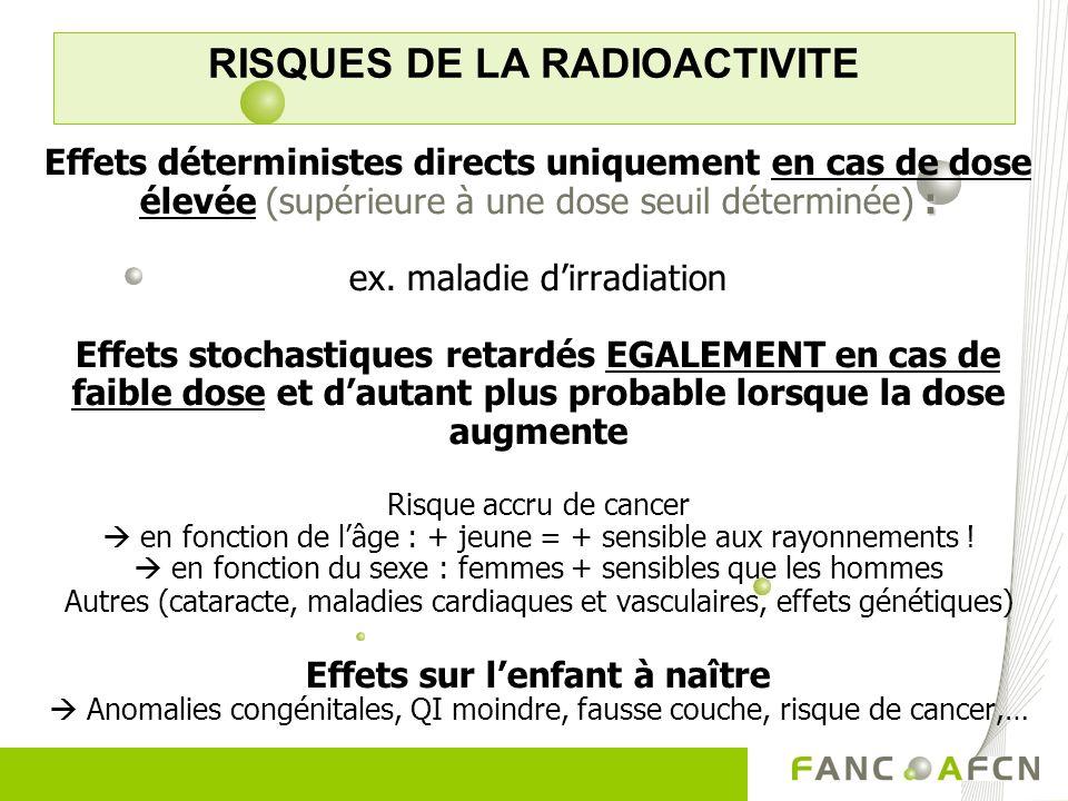 : Effets déterministes directs uniquement en cas de dose élevée (supérieure à une dose seuil déterminée) : ex. maladie dirradiation Effets stochastiqu