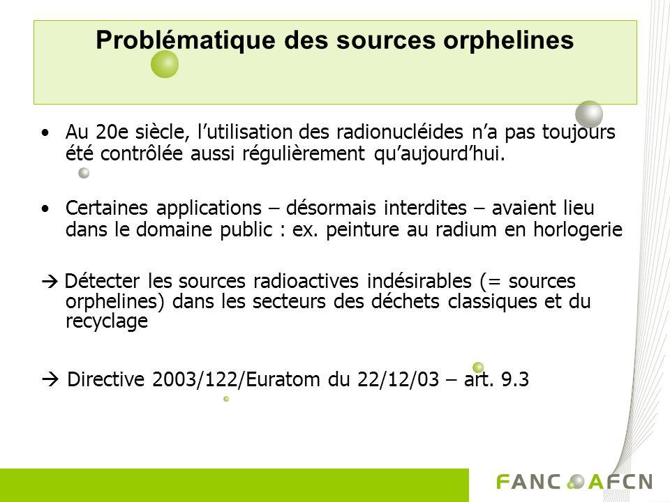 Problématique des sources orphelines Au 20e siècle, lutilisation des radionucléides na pas toujours été contrôlée aussi régulièrement quaujourdhui. Ce