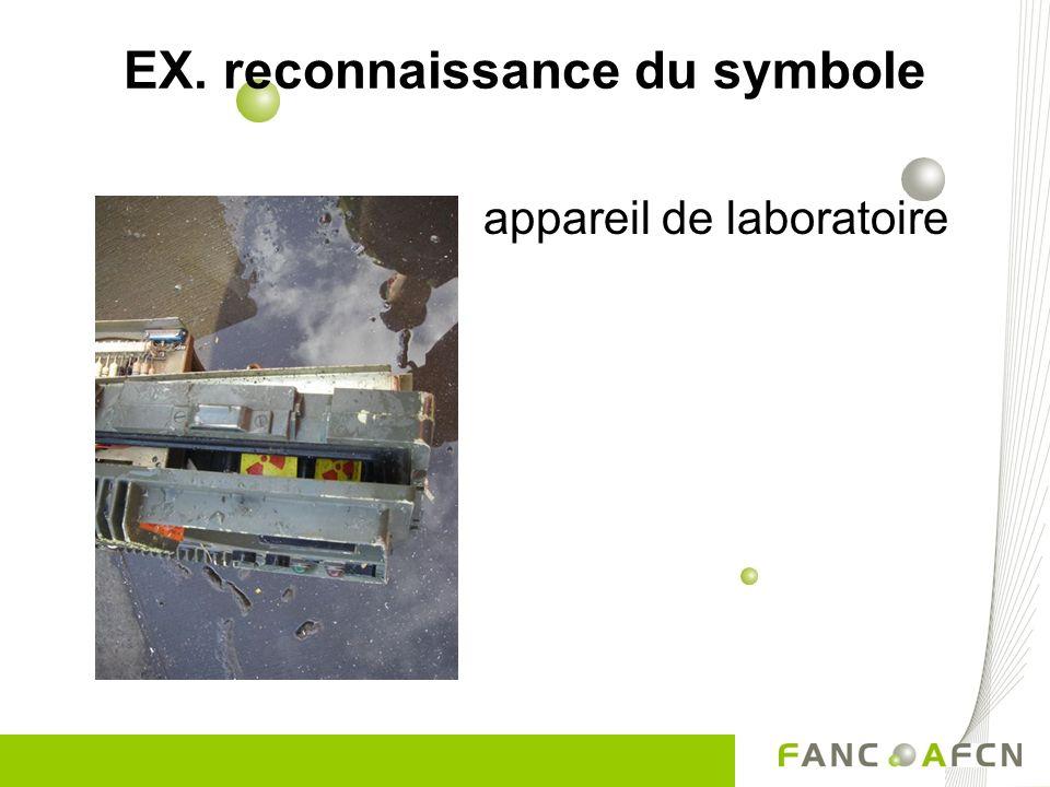 appareil de laboratoire EX. reconnaissance du symbole