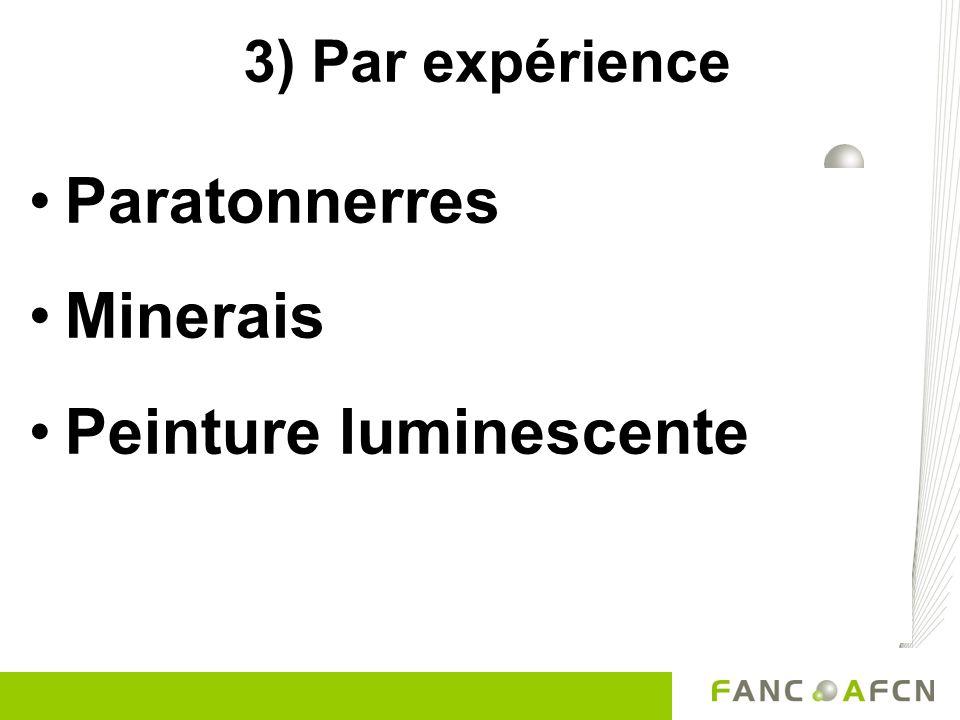 3) Par expérience Paratonnerres Minerais Peinture luminescente