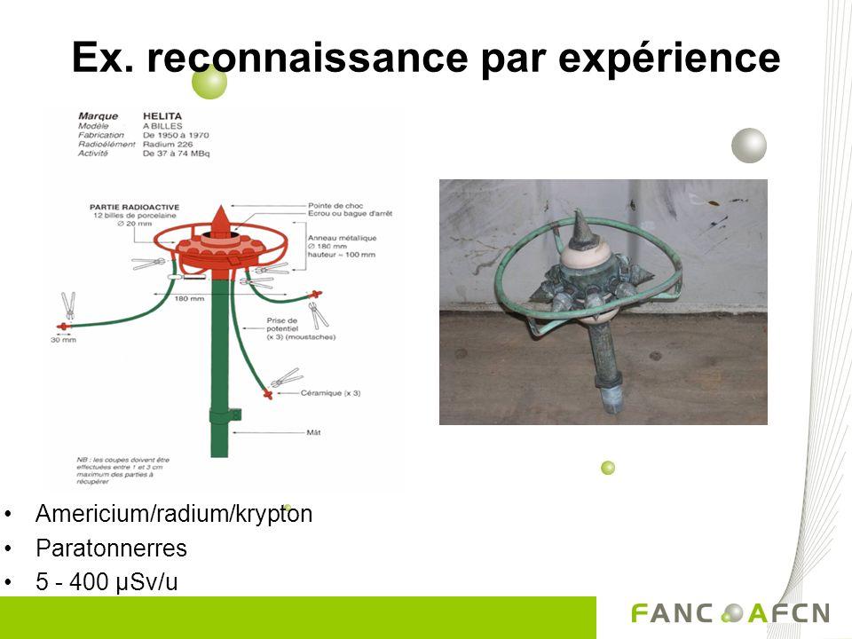 Americium/radium/krypton Paratonnerres 5 - 400 µSv/u Ex. reconnaissance par expérience