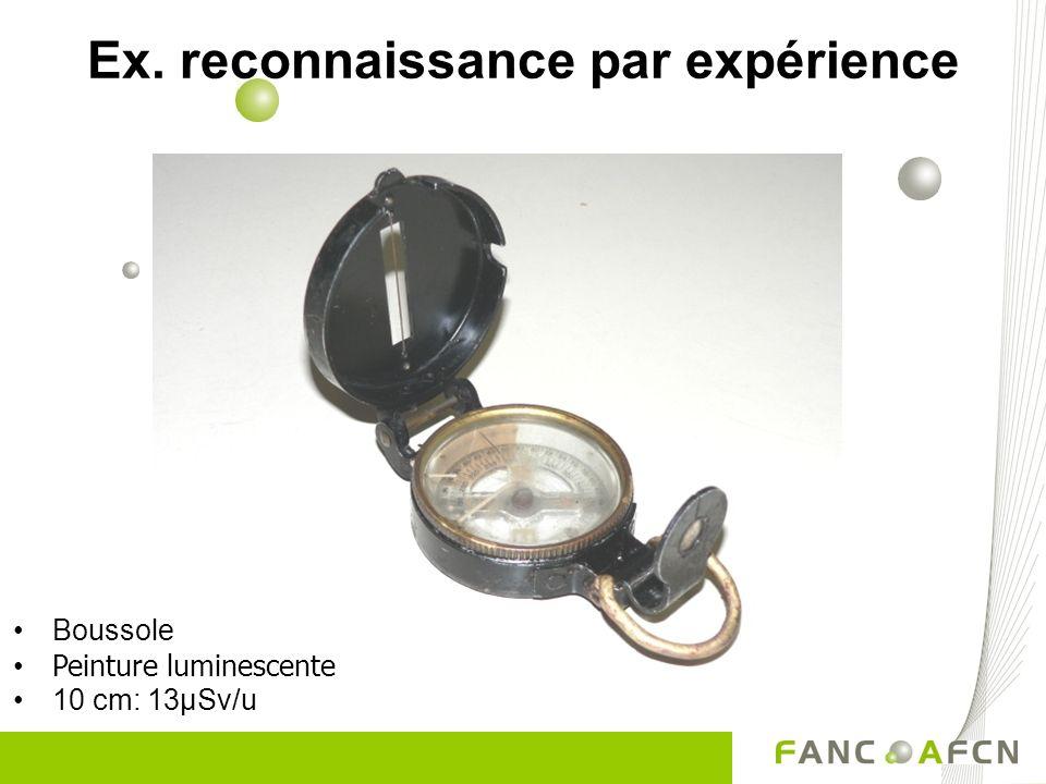Boussole Peinture luminescente 10 cm: 13µSv/u Ex. reconnaissance par expérience