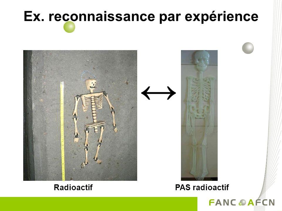 Radioactif PAS radioactif Ex. reconnaissance par expérience