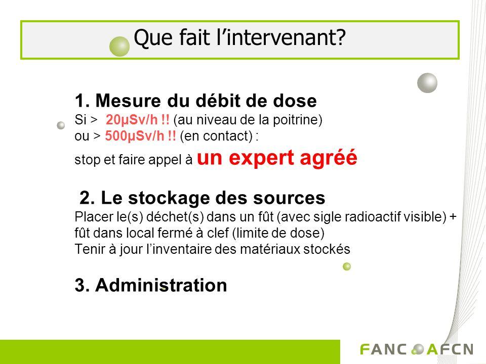 1. Mesure du débit de dose Si > 20µSv/h !! (au niveau de la poitrine) ou > 500µSv/h !! (en contact) : stop et faire appel à un expert agréé 2. Le stoc