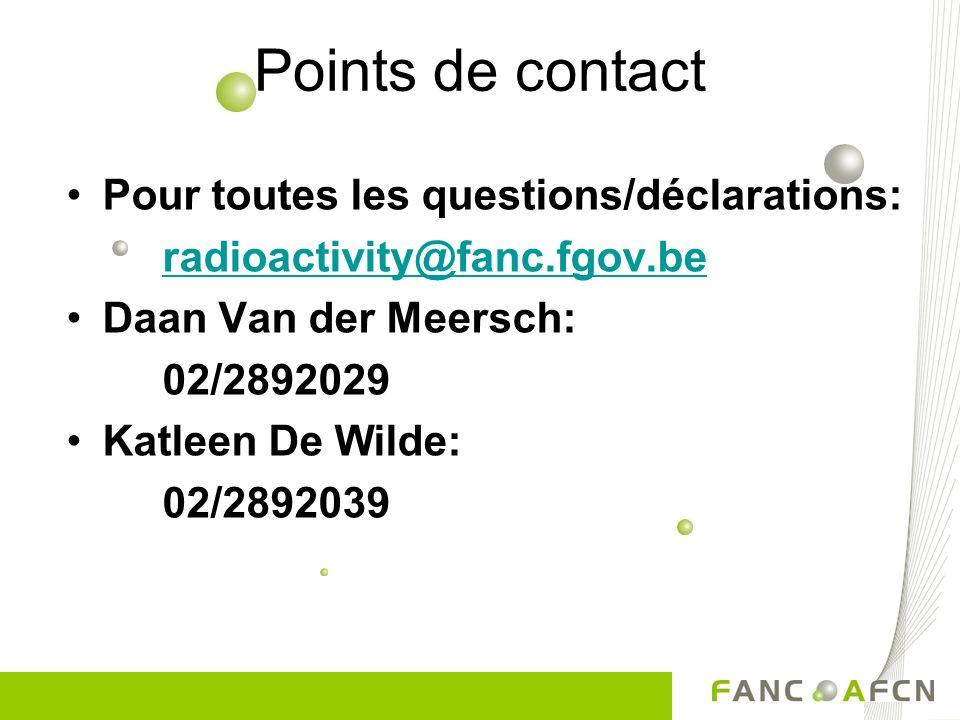 Points de contact Pour toutes les questions/déclarations: radioactivity@fanc.fgov.be Daan Van der Meersch: 02/2892029 Katleen De Wilde: 02/2892039