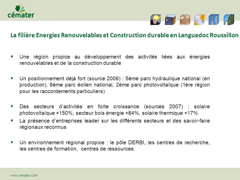 www.cemater.com La filière Energies Renouvelables et Construction durable en Languedoc Roussillon Une région propice au développement des activités li