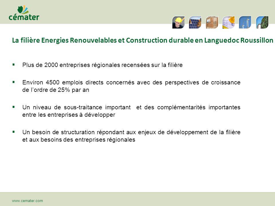La filière Energies Renouvelables et Construction durable en Languedoc Roussillon Plus de 2000 entreprises régionales recensées sur la filière Environ