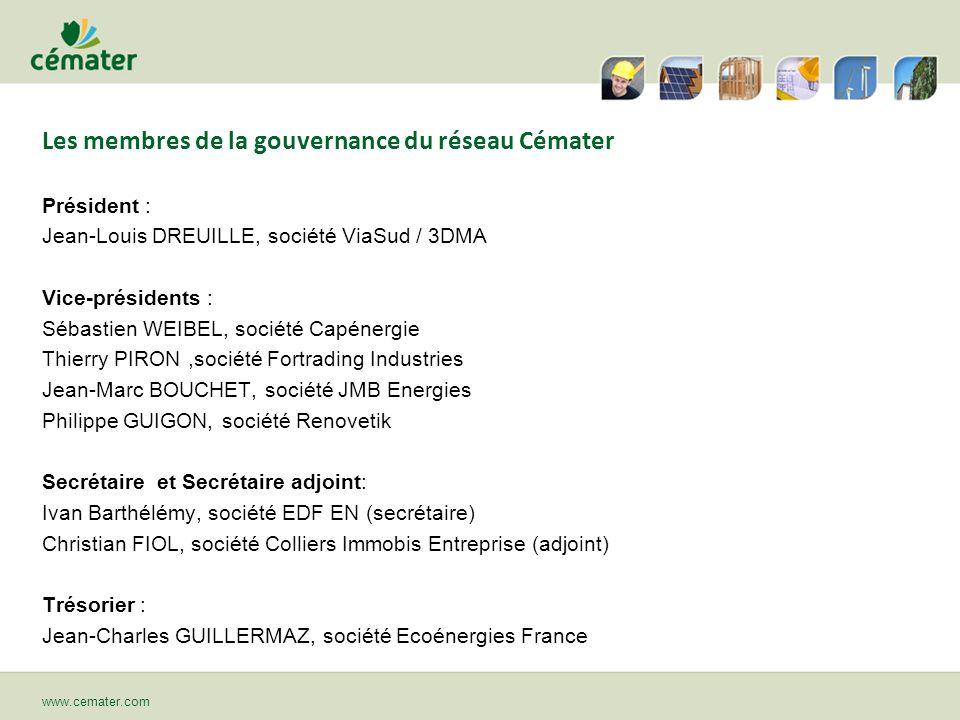 Les membres de la gouvernance du réseau Cémater Président : Jean-Louis DREUILLE, société ViaSud / 3DMA Vice-présidents : Sébastien WEIBEL, société Cap