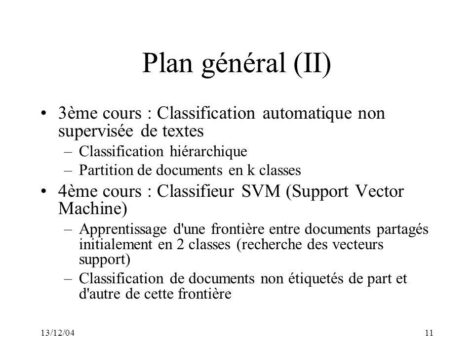 13/12/0411 Plan général (II) 3ème cours : Classification automatique non supervisée de textes –Classification hiérarchique –Partition de documents en