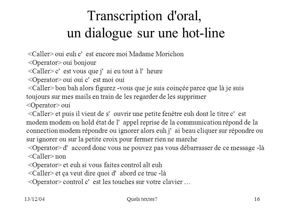 13/12/04Quels textes?16 Transcription d'oral, un dialogue sur une hot-line oui euh c' est encore moi Madame Morichon oui bonjour c' est vous que j' ai