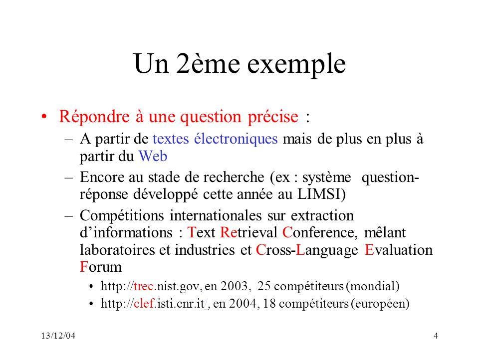 13/12/044 Un 2ème exemple Répondre à une question précise : –A partir de textes électroniques mais de plus en plus à partir du Web –Encore au stade de