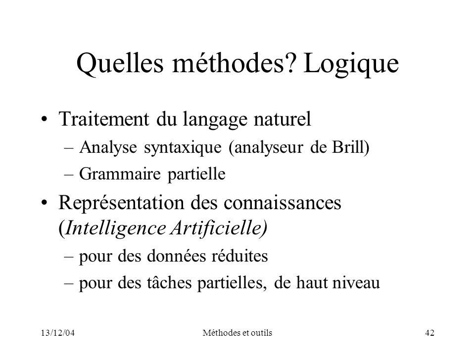 13/12/04Méthodes et outils42 Quelles méthodes? Logique Traitement du langage naturel –Analyse syntaxique (analyseur de Brill) –Grammaire partielle Rep