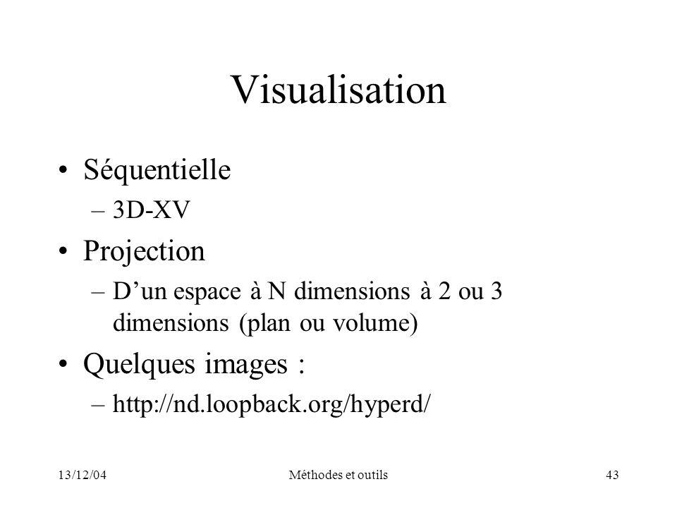 13/12/04Méthodes et outils43 Visualisation Séquentielle –3D-XV Projection –Dun espace à N dimensions à 2 ou 3 dimensions (plan ou volume) Quelques ima