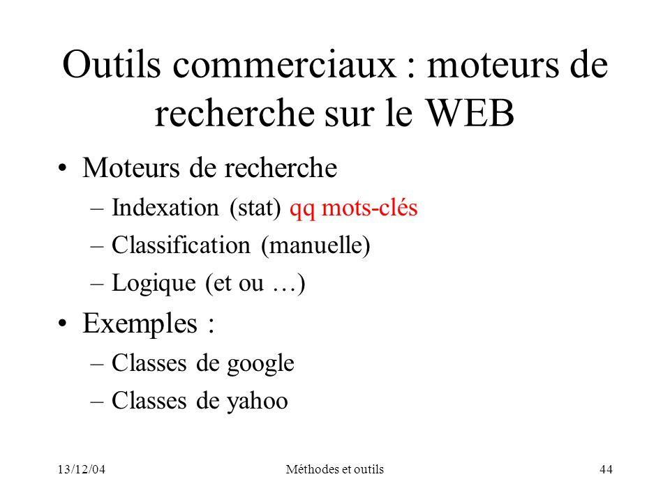 13/12/04Méthodes et outils44 Outils commerciaux : moteurs de recherche sur le WEB Moteurs de recherche –Indexation (stat) qq mots-clés –Classification